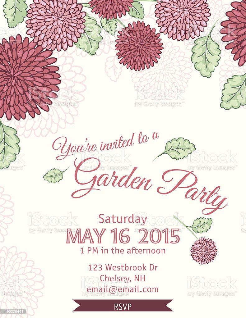 ガーデンパーティの招待状テンプレート ベクターアートイラスト