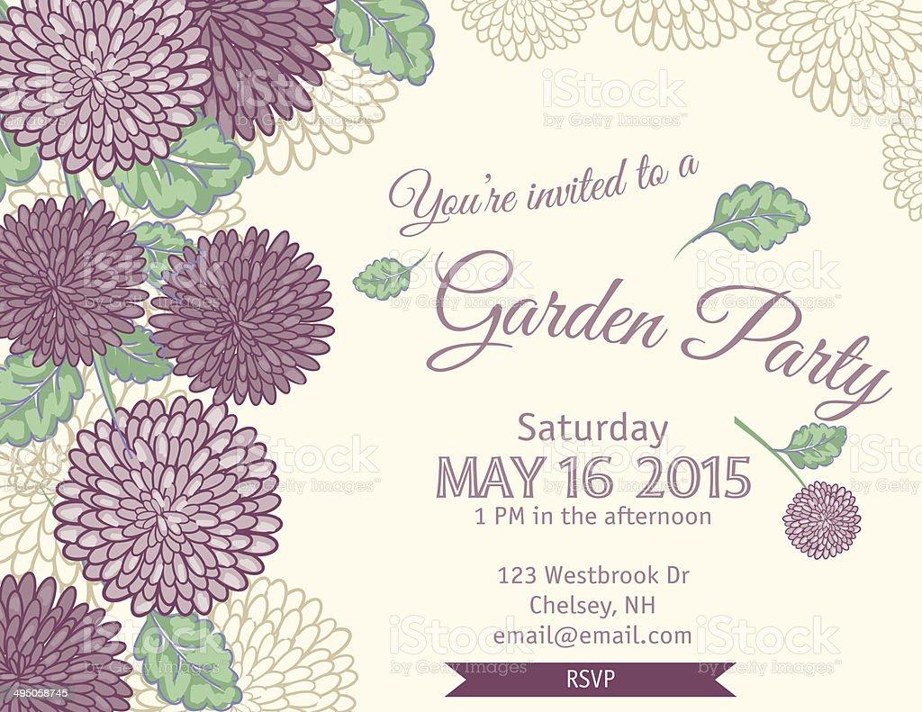 Garten-Party-Einladung Vorlage – Vektorgrafik