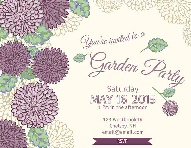 Garden Party Invitation Template vector art illustration