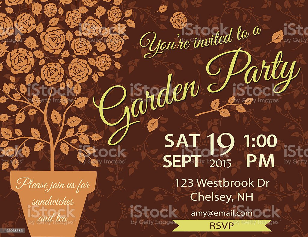 Garden Party Invitation Template Stock Vector Art & More Images of ...