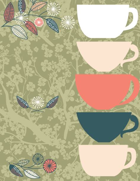 garden party or afternoon tea background template - stacked tea cups stock illustrations, clip art, cartoons, & icons