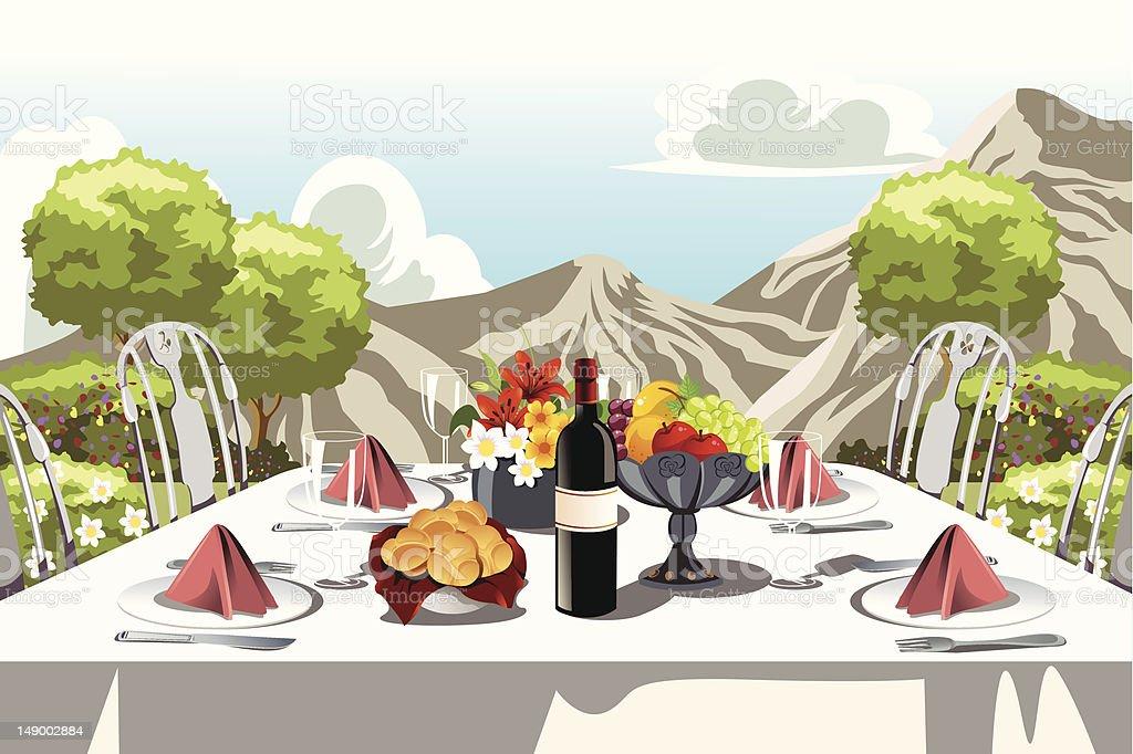 Garden party table arrangement royalty-free stock vector art