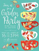 Garden party bridal shower tea party vertical template with five decorative floral cups stacked on right side and text invitation information on the left.  The five multi-colored cups have flower with leaves sprigs design.  There is a leaf sprig under the text at the bottom.  The invitation is on a blue background.