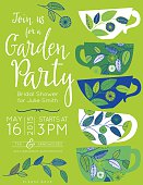 Garden party bridal shower tea party vertical template with five decorative floral cups stacked on right side and text invitation information on the left.  The white,green and blue cups have flower with leaves sprigs design.  There is a leaf sprig under the text at the bottom.  The invitation is on a green background.