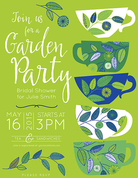 Garden Party Tea Bridal Shower Invitation Template vector art illustration