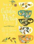 Garden party bridal shower tea party vertical template with five decorative floral cups stacked on right side and text invitation information on the left.  The five multi-colored cups have flower with leaves sprigs design.  There is a leaf sprig under the text at the bottom.  The invitation is on a yellow background.