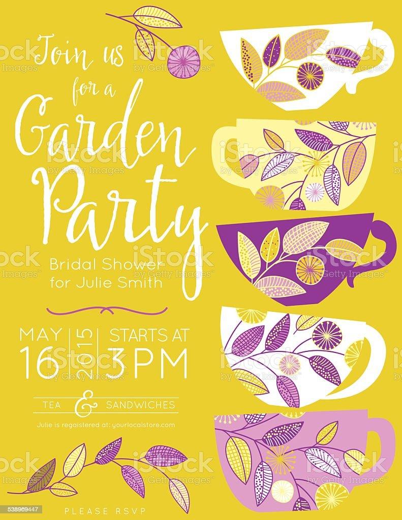 Garden Party Tea Bridal Shower Invitation Template stock vector ...