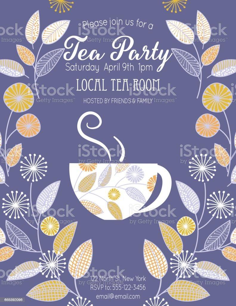 Gartenparty Tee Braut-Dusche Einladung Vorlage – Vektorgrafik
