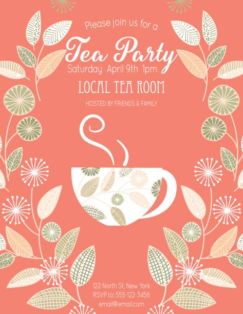 garden party tea bridal shower invitation template - stacked tea cups stock illustrations, clip art, cartoons, & icons