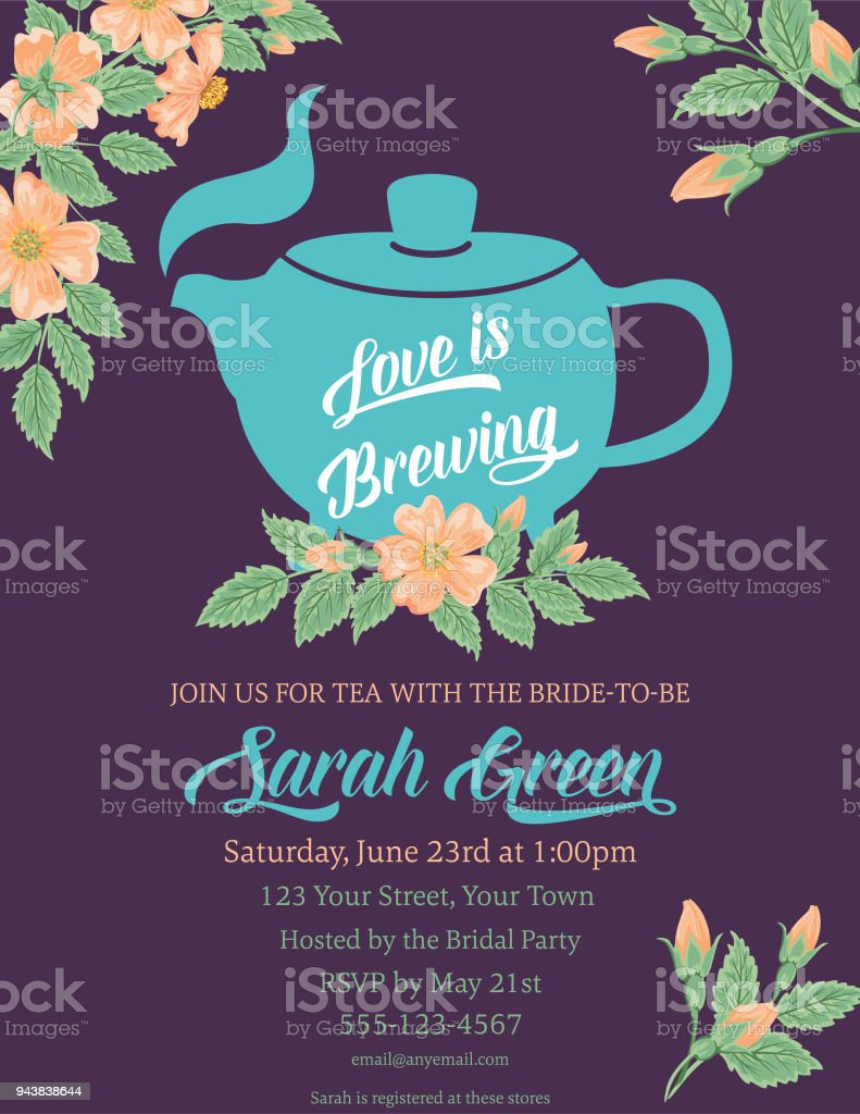 Garden Party Tea Bridal Shower Invitation Template Stock Illustration Download Image Now