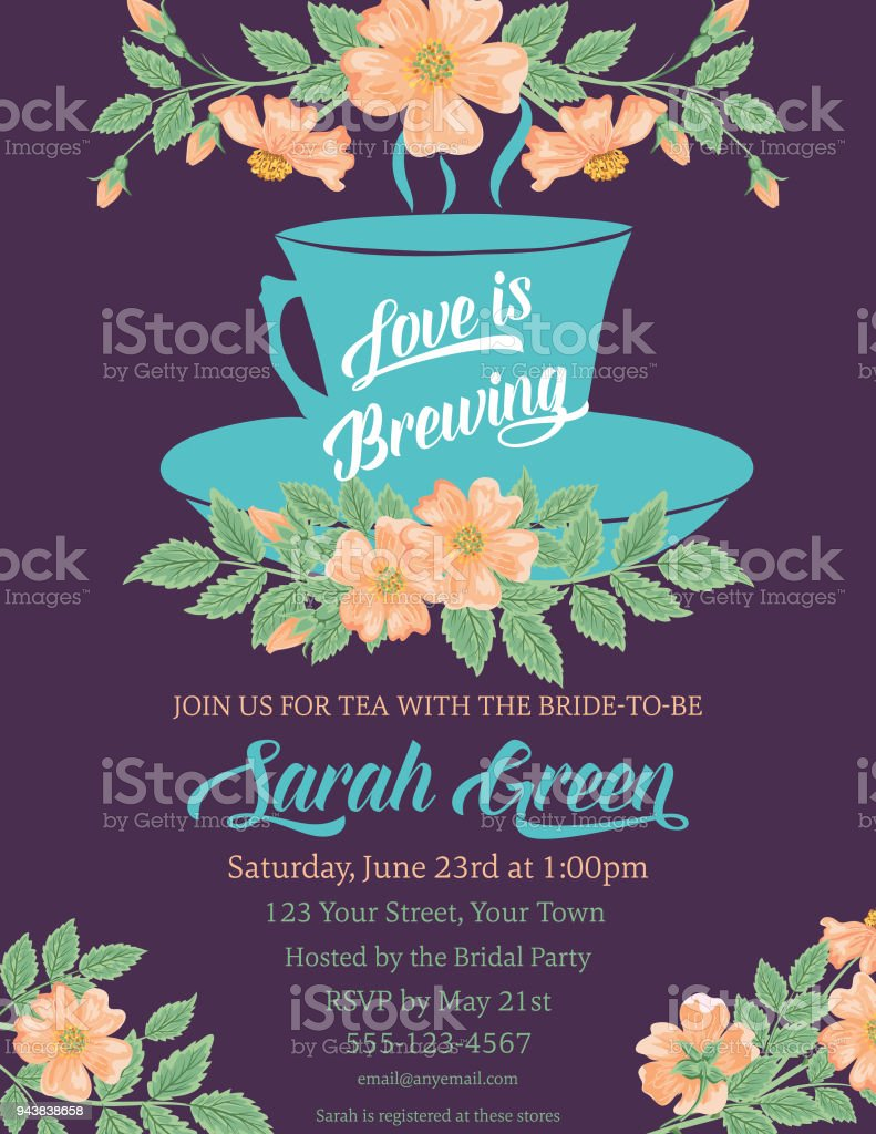 garden party tea bridal shower invitation template royalty free garden party tea bridal shower invitation