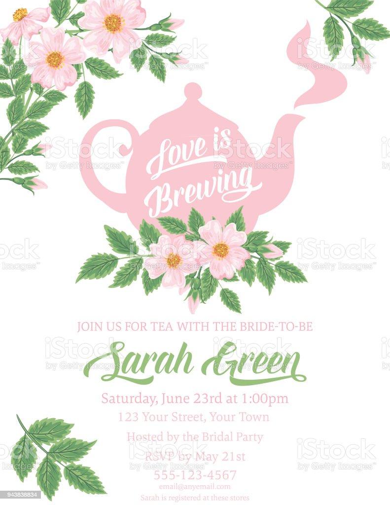 Garden Party Tea Bridal Shower Invitation Template Stock Vector Art ...