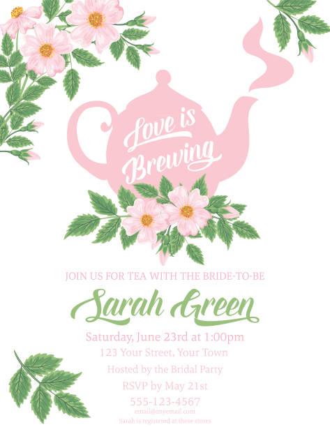 Garden Party Tea Bridal Shower Invitation Template Garden party or afternoon tea bridal shower invitation template. There are wild roses and tea on the card. teapot stock illustrations