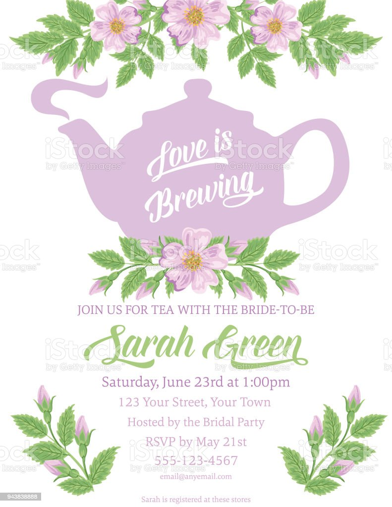Garden Party Tea Bridal Shower Invitation Template Stock Vector Art - Bridal shower announcement template