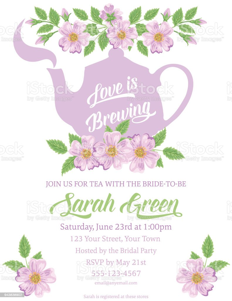 garden party tea bridal shower invitation template stock vector art