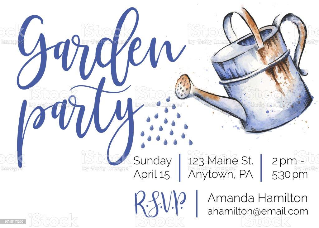 Garden Party Watercolor and Ink Invitation Design vector art illustration