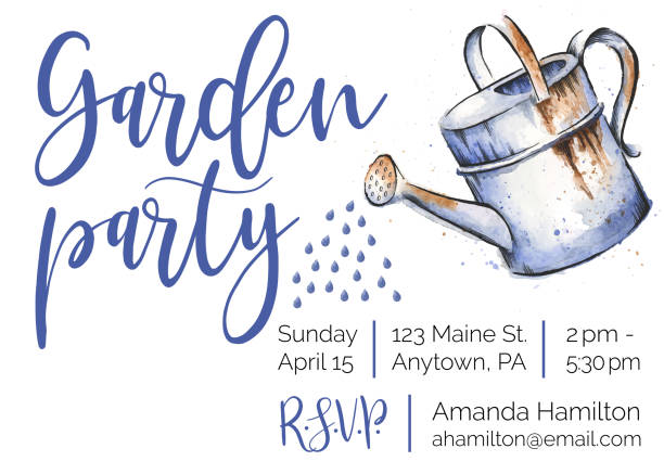 Garden Party Watercolor and Ink Invitation Design vector art illustration