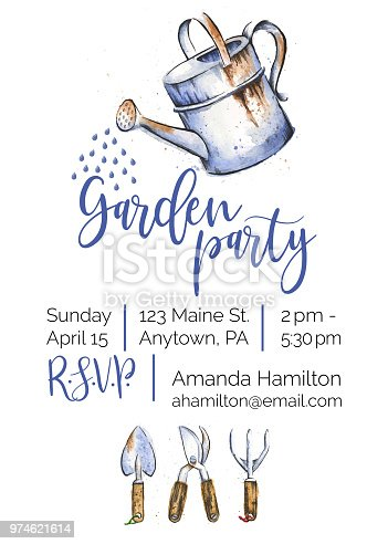 Garden Party Watercolor and Ink Invitation Design