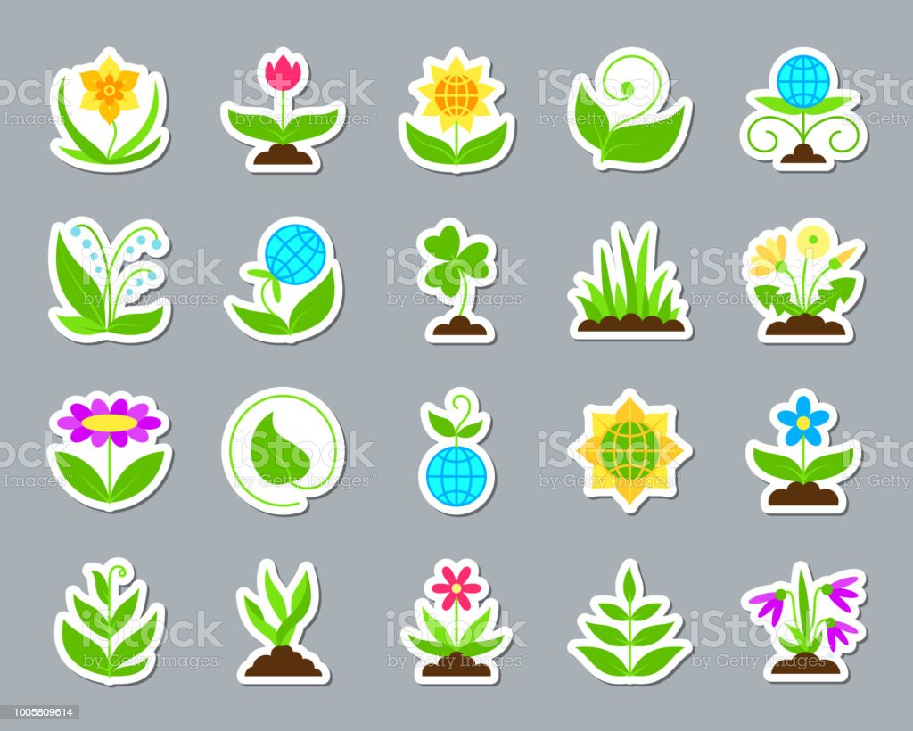 Garden patch sticker icons vector set vector art illustration