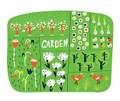 Garden plan with beds funny illustration