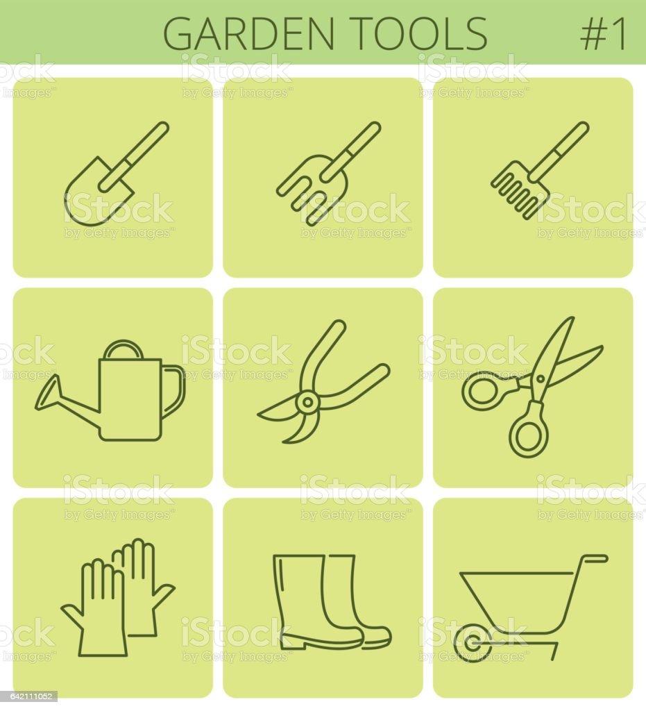 Garden plant tools line symbols vector thin outline icon set stock garden plant tools line symbols vector thin outline icon set royalty free biocorpaavc