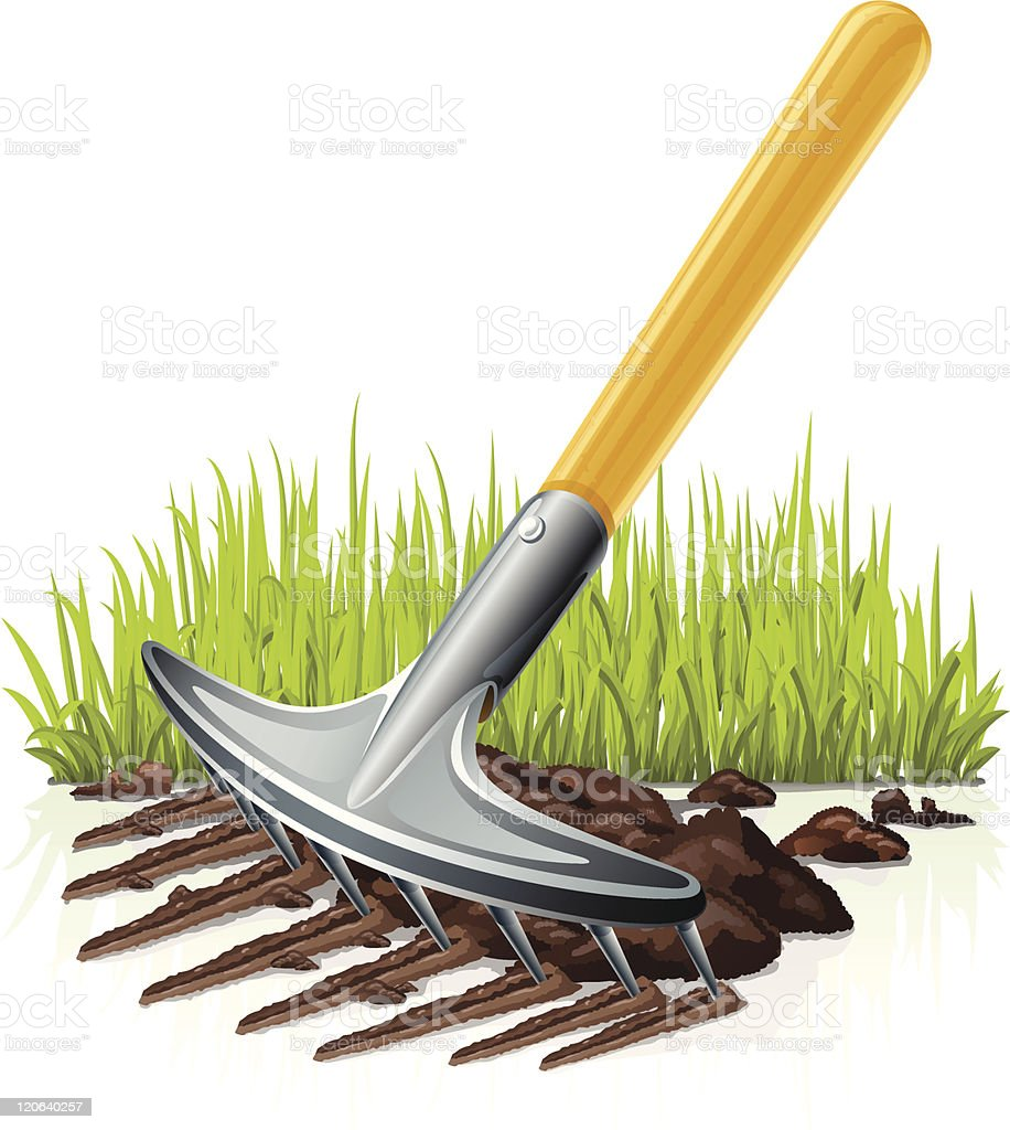 garden rake vector art illustration
