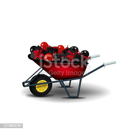 istock Garden red wheelbarrow with black presents and black and red balloons isolated on a white background. A garden wheelbarrow full of presents to Black Friday celebrations 1273903787