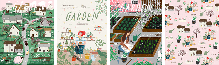 Garden! Set of posters landscape spring farm village, young girl with potted plant, woman cares for garden, grows organic vegetables and herbs. Vector illustration for card, postcard or poster