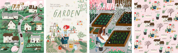 Garden! Set of posters landscape spring farm village, young girl with potted plant, woman cares for garden, grows organic vegetables and herbs. Vector illustration for card, postcard or poster vector art illustration