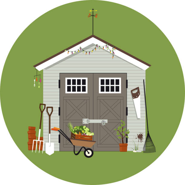 Garden shack Garden shed with gardening tools around it, EPS 8 vector illustration, no transparencies shed stock illustrations