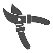 istock Garden shears solid icon, Garden and gardening concept, Secateurs sign on white background, gardening scissors icon in glyph style for mobile concept and web design. Vector graphics. 1277462064