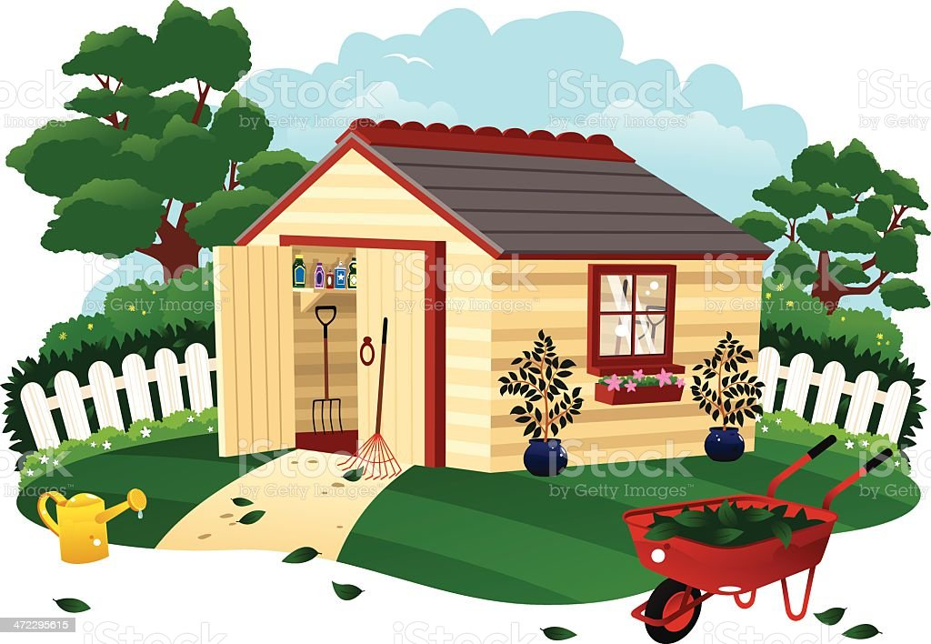 Garden shed and wheel barrow royalty-free stock vector art