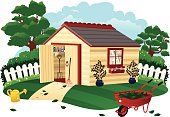 An isolated illustration of a typical garden shed and surroundings. In the foreground are a red wheel barrow and watering can, with assorted tools in the shed itself.