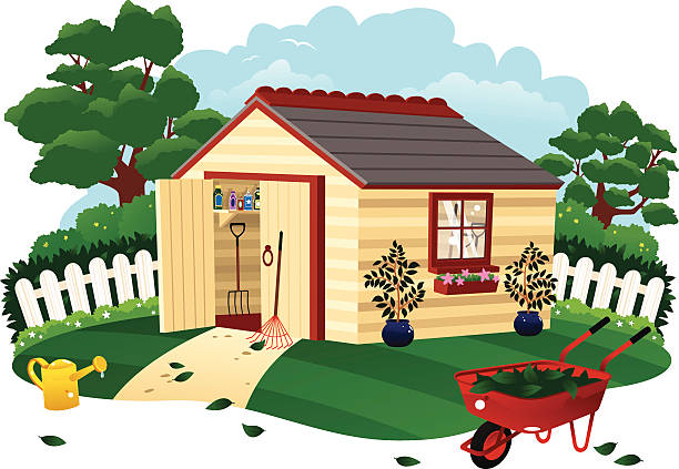 Garden shed and wheel barrow An isolated illustration of a typical garden shed and surroundings. In the foreground are a red wheel barrow and watering can, with assorted tools in the shed itself. shed stock illustrations