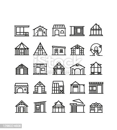 istock Garden shed symbol, second home, holiday home 1296024606