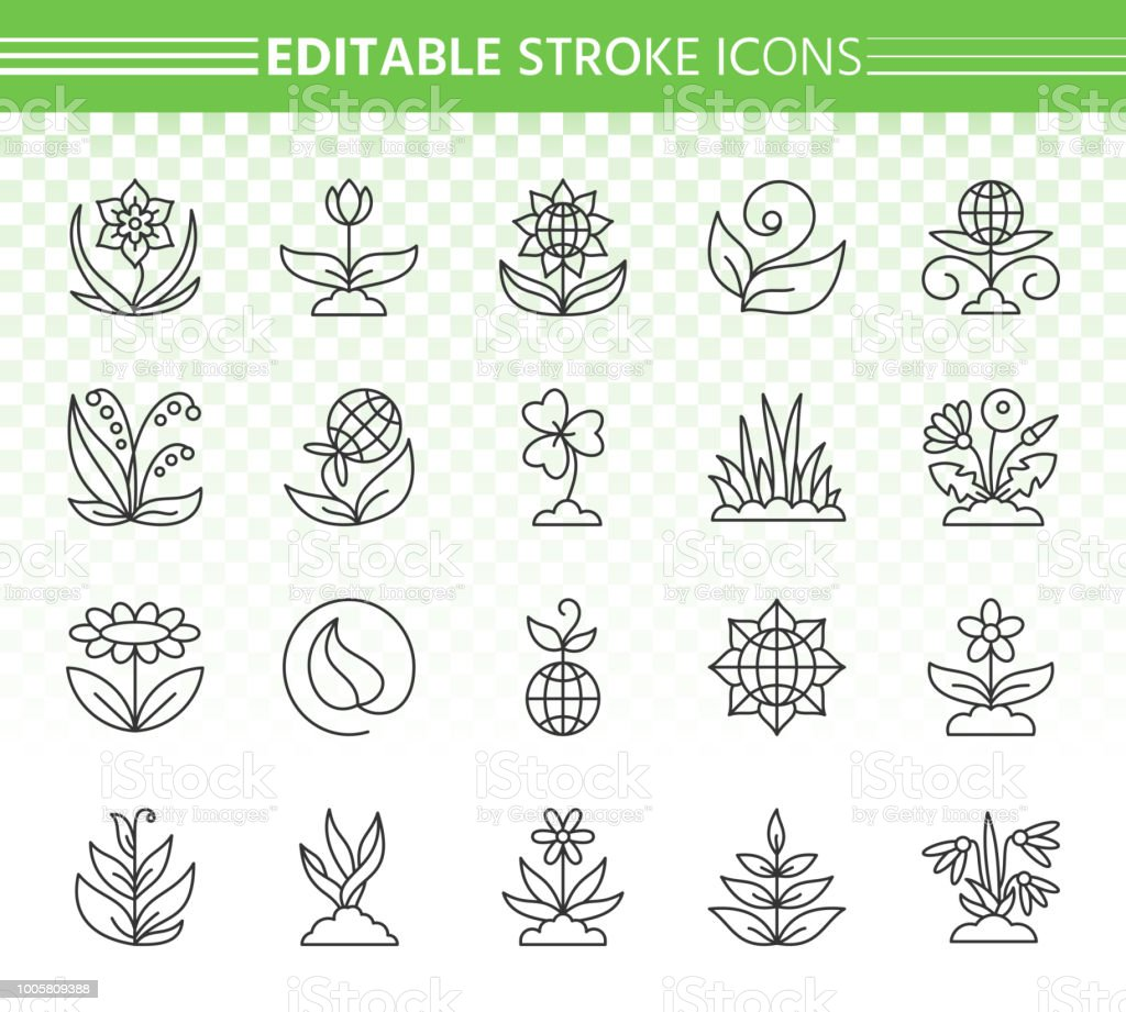 Garden simple black line icons vector set vector art illustration