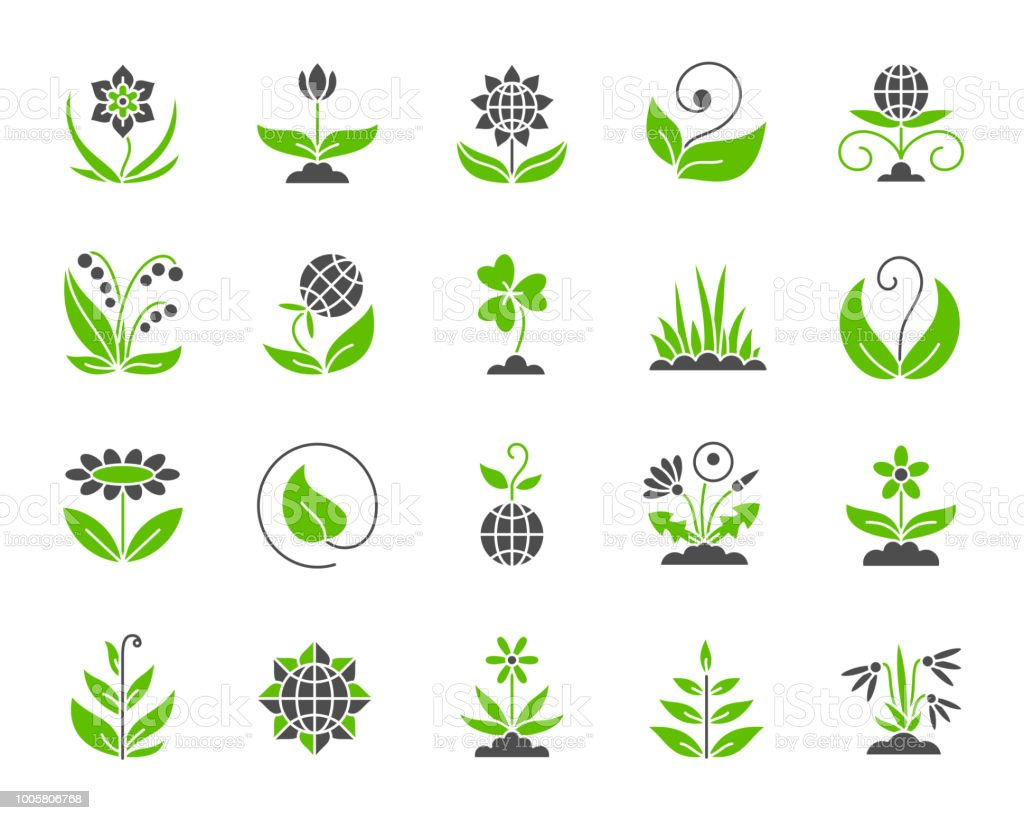 Garden simple color flat icons vector set vector art illustration