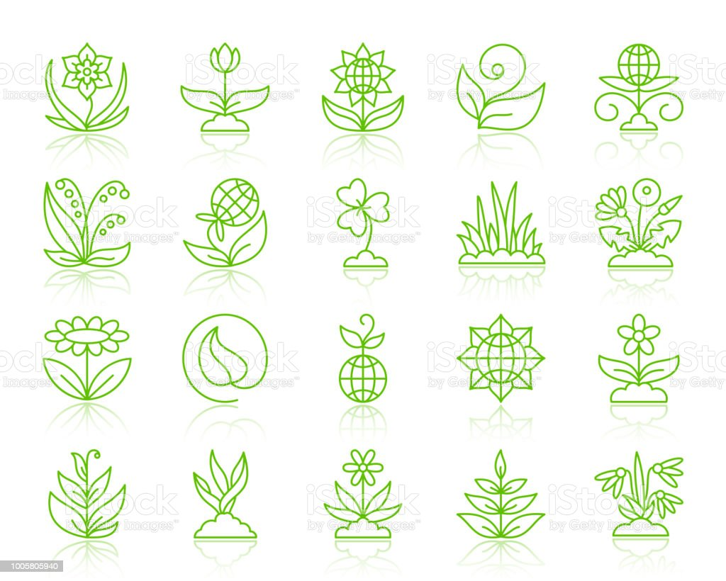 Garden simple color line icons vector set vector art illustration