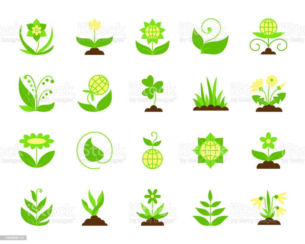 Garden simple flat color icons vector set vector art illustration