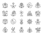 Garden flat icons set. Web sign kit of flower. Plant pictogram collection includes leaf, grass, clover. Simple garden cartoon colorful icon symbol isolated. Vector Illustration