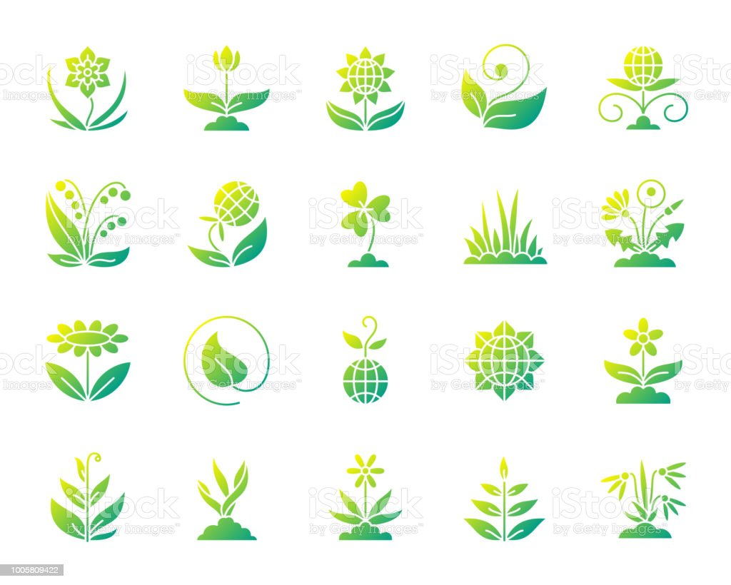Garden simple gradient icons vector set vector art illustration