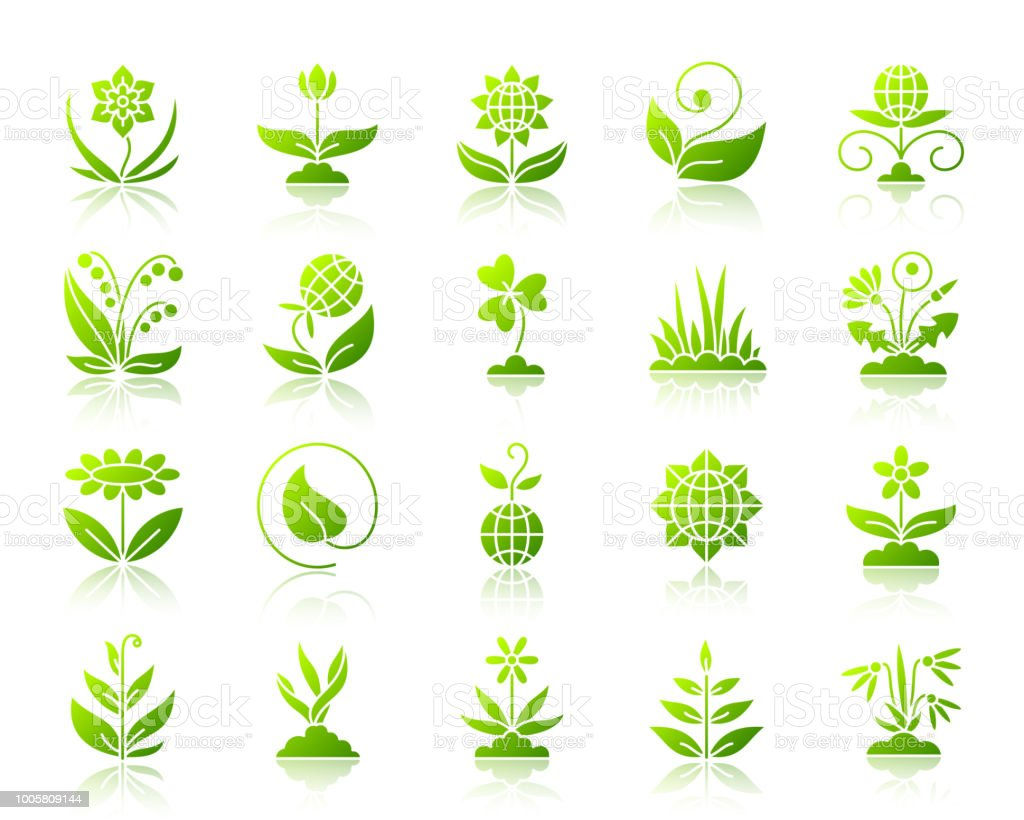 Garden simple green gradient icons vector set vector art illustration