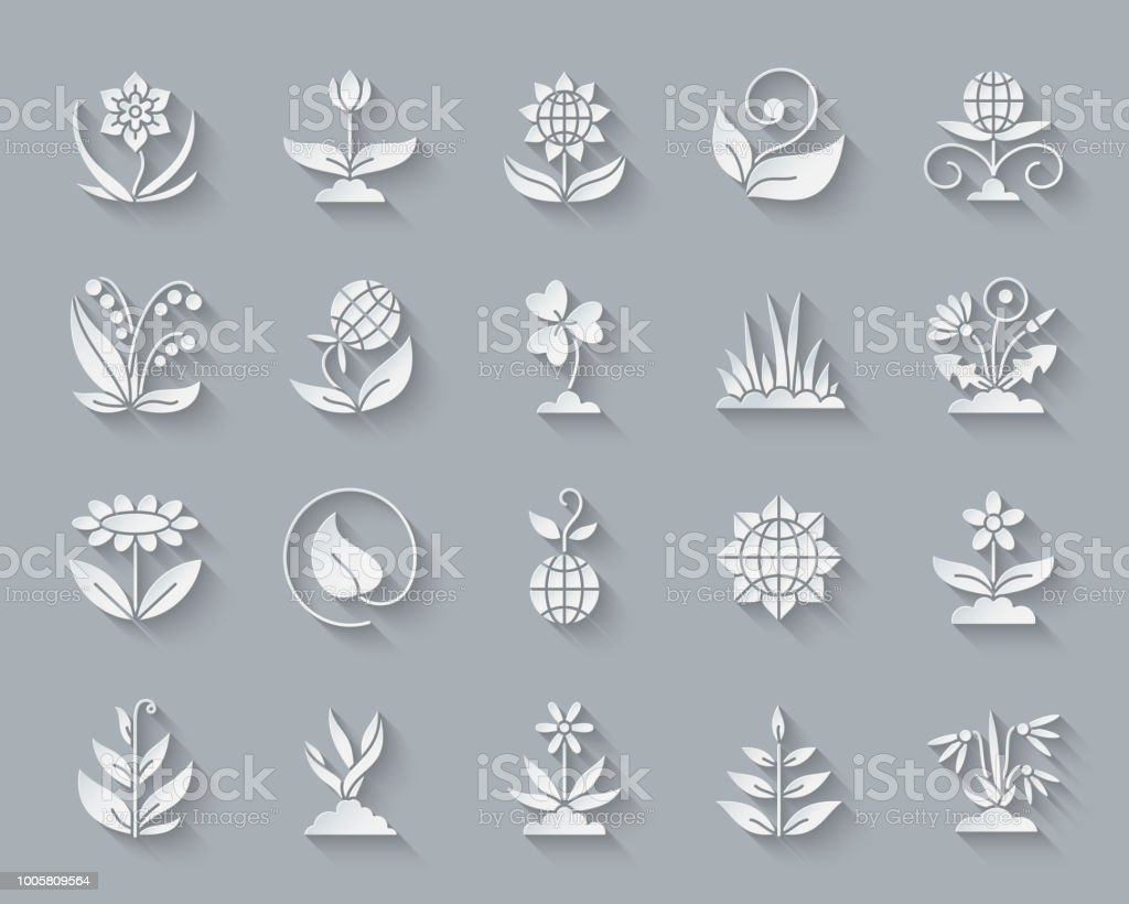 Garden simple paper cut icons vector set vector art illustration