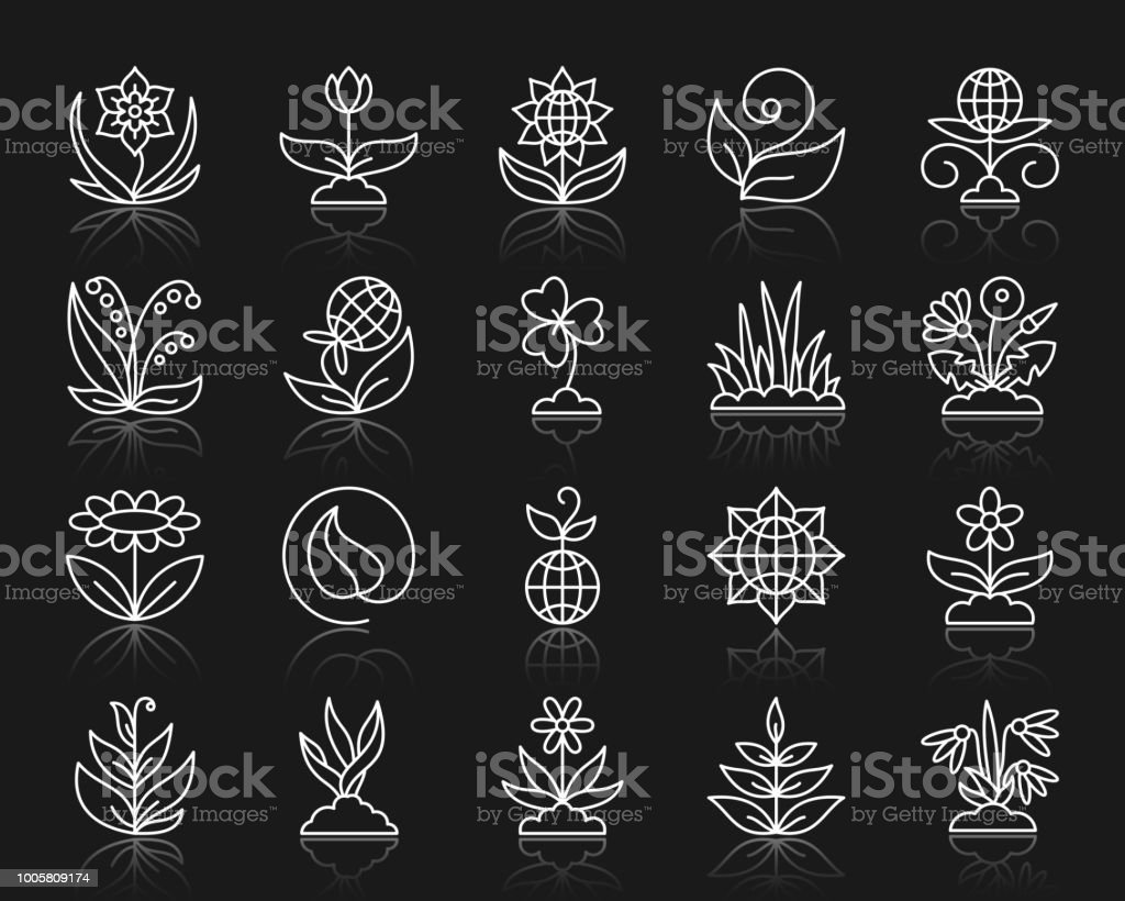 Garden simple white line icons vector set vector art illustration
