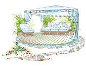 garden sofa umbrello color