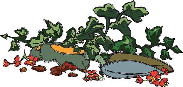 Garden Spade Sketch vector art illustration