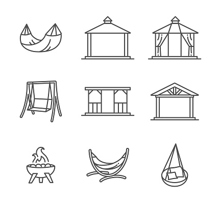 Garden structures, buildings and furniture thin line style icon set vector art