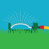 garden swinging sprinkler icon- vector illustration