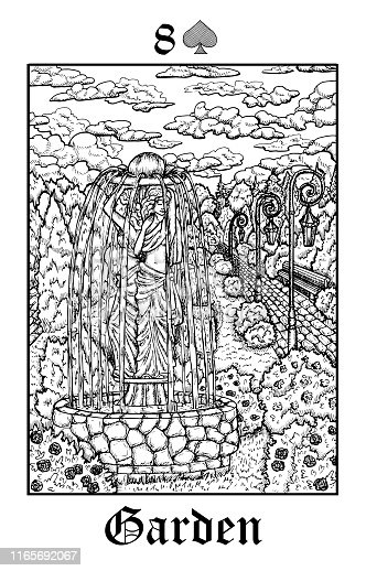 Garden. Tarot card from vector Lenormand Gothic Mysteries oracle deck.