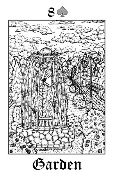 garten. tarot-karte aus vektor lenormand gothic mysteries orakel deck. - landschaftstattoo stock-grafiken, -clipart, -cartoons und -symbole